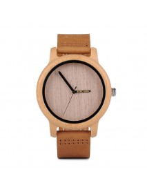 BOBO BIRD WA22 Simple Design Wood Wrist Watch Leather Strap Unisex Watches