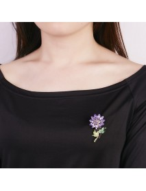 Trendy Colorful Rhinestone Flower Brooch Sweet Clothes Accessories Gift for Women