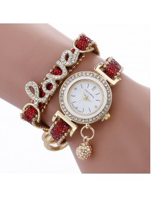 Fashion Luxury Women Watch Love Word Leather Strap Ladies Bracelet Quartz Watch