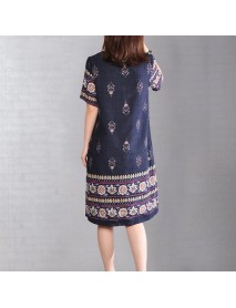 9223# Loaded New Large Size Women's Print Long Round Neck Short Sleeve Dress