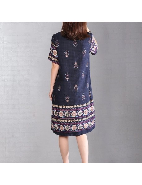 9223# Loaded New Large Size Women's Print Long Round Neck Short Sleeve Dress