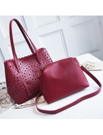 2 PCS Women Hollow Out PU Leather Tote Bag Solid Crossbody Bag