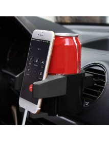 Universal 2 in 1 Coffee Bottle Drink Holder Clip-on Car Air Vent Mount for GPS Phone 3-5.6 inches