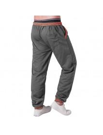 Men's Casual Color Block Stitching Sports Trousers Elastic Waist Drawstring Jogger Pants