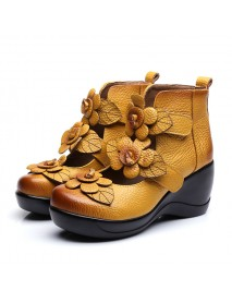 SOCOFY Women Genuine Leather Flower Retro Hook Loop Platporm Shoes