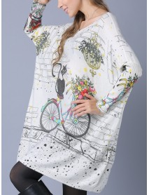 Plus Size Cartoon Cat Print Batwing Sleeve Crew Neck Knitted Sweaters