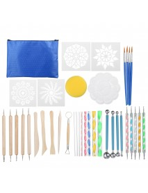 38Pcs Mandala Dotting Tools Set Rock Painting Kit Nail Art Pen Paint Stencil
