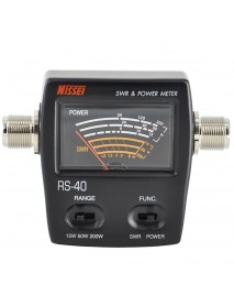 NISSEI RS-40 Power SWR Meter Measurable Range 200W for Two Way Radio with Adapter Connector