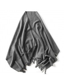 LYZA 200CM Women Winter Wool Scarf Solid Large Size Scarf and Shawl Blanket Dual Use