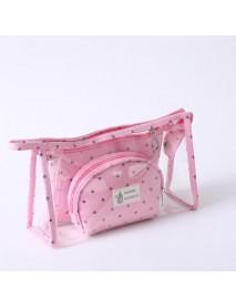 3pcs/set Travel Cosmetic Bag Small Beauty Case Transparent Make Up Pouch Professional Toiletries Case Women Fashion Necessaire