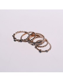 Rose Gold Stackable Ring Set Metal Geometric Rhinestone Inlay Ring