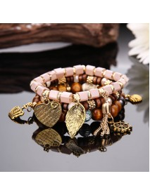 Charm Multilayer Tassel Bracelets Leaf Anchor Bracelet Love Heart Gift for Women