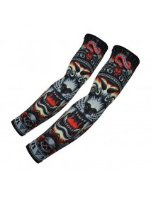 1Pair Tattoo Sunscreen Cycling Fishing Cooling Arm Sleeves Sweatproof Breathable  Sunblock Gloves