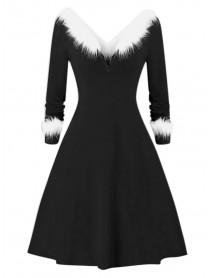 Christmas Santa Claus V-neck Long Sleeve Knit Dress