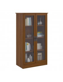 Heirloom Storage Cabinet Bookshelf with 4 Shelves Multiple Finishes Bookcase with Glass Doors