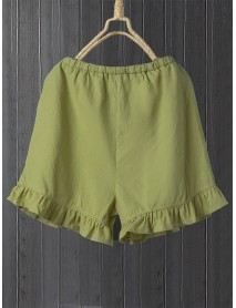 Solid Color Elastic Waist Ruffle Shorts Pants