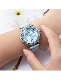 BIDEN BD1110 Classic Crystal Women Wrist Watch Leather Strap Casual Quartz Watch