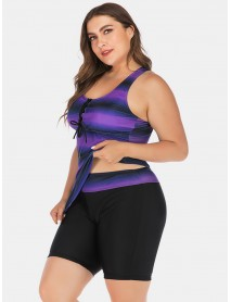 Plus Size Women Front Bandage Stripe Top Two-Piece Swimwear Cover Belly Tankinis