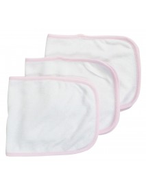 Bambini Baby Burpcloth With Pink Trim (Pack of 3)
