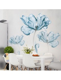 2pcs Large Blue Flower DIY Wall Sticker Art Stickers Vinyl Quote Decal Home Decor