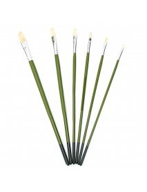1 Set Green Rod Painting Brush 6 Pcs Paintbrush Long Handle Hair Bristle Painting Brushes Watercolor Oil Acrylic Paint Art Supplies