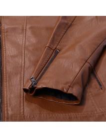 Men Zipper Cuff Multi Pockets Leather Rider Jacket