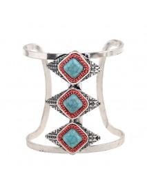 Bohemian Rhombus Adjustable Bracelet Vintage Turquoise Rhinestone Wide Bangle Bracelets for Women