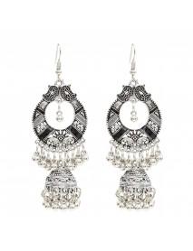 Bohemian Tassel Earring Hallow Bell Drop Earrings Retro Sliver Earrings for Women