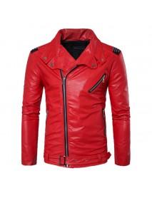 Men Zipper Buckle Turn-down Collar Leather Jacket