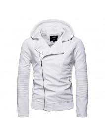Men Zipper Hooded Pocket Decoration Leather Jacket
