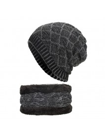 Men Women Thicken Coral Fleece Brimless Knitted Cap Scarf Set Winter Warm Beanie Hat