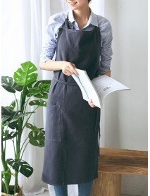 Japanese Style Brief Pure Color Cotton Linen Aprons with Side Pocket