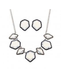 JASSY Luxury Women Jewelry Set Elegant Platinum Plated White Opal Crystal Necklace Earrings Gift