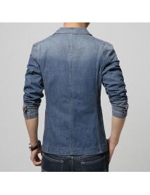 Men Casual Slim Denim Jean Pockets Single Breasted Blazers Suit