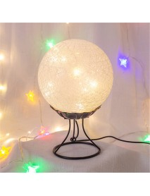LED Linen Rattan Ball Desk Lamp USB Creative Romantic Night Light with Switch Button