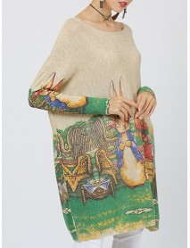 Plus Size Cartoon Rabbit Print Batwing Sleeve Knitted Sweaters