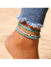 Bohemian Blue Beaded Anklet A Set of Wax Rope Beads Multilayer Anklets Ethnic Jewelry for Women