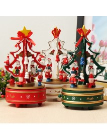 Wooden Christmas Tree Rotating Music Box Toys Children Christmas Gift Home Decorations
