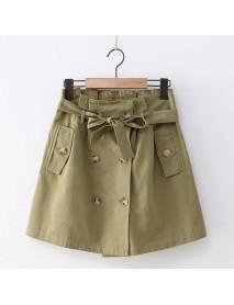 Japanese New Retro Button Skirt Female High Waist Foreign Double-breasted Flower Skirt A Word Skirt