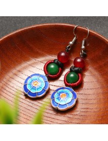 Ethnic Retro Flower Pendant Ear Drop Tassel Agate Vintage Earrings for Women