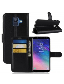 Litchi Leather Flip Card Slots Bracket Wallet Protective Case for Samsung Galaxy A6 2018