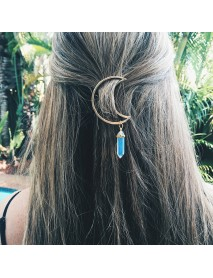 Multicolor Natural Stone Hair Clip Hollow Moon Charm Hair Accessories for Women