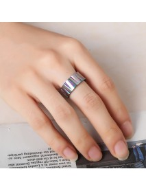 Punk Colorful Wire Drawing Stainless Steel Finger Ring Geometric Cone Unisex Engagement Rings