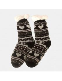 Christmas Jacquard And Velvet Anti-ski Socks Thickening Lambskin Knit Tube Socks