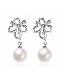 INALIS Pearl Pendent Butterfly Rhinestone Platinum Earrings