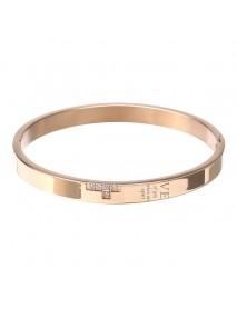 Vintage Titanium Steel Love Rhinestone Bangle Couple Bracelets Relationship for Men Women