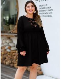 Plus Size Autumn Splice Bell Sleeve Crew Neck Lace Dress