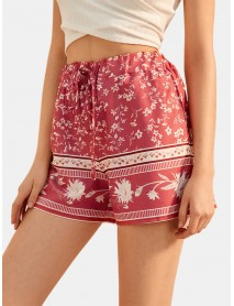 Ethnic Floral Print Drawstring Waist Summer Holiday Shorts For Women