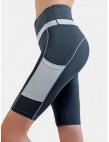 Women Contrasting Colors Pocket Fitness Workout Biker Shorts