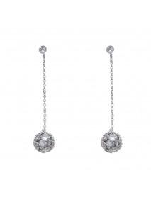 925 Sterling Silver Womens Earring Dazzling Zirconia Ball Drop Piercing Earrings for Women